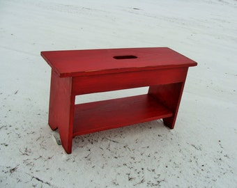 Entryway Bench,  Shoe Storage Bench, Coffee Table, Wooden Bench, Custom, Old Red