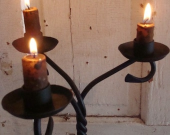 Candelabra, Candle Holders, Centerpiece, Candleholders, 3 Light Candleholder, Blacksmith Forged