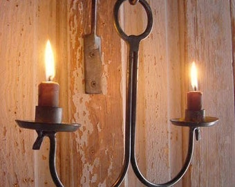 Rustic Sconce Lighting Candle Holder Wall Hanging Blacksmith Forged