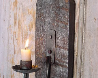 Rustic Sconce, Wall Candle Sconce, Blackened Candle Holder Sconce Early Lighting Blacksmith Forged