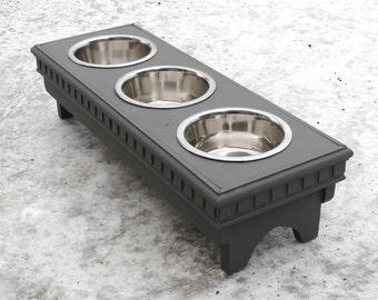 3 Bowl Dog Stand Elevated Pet Feeder Decorative Wood Dog Feeder Classic Feeding Stand Charcoal Gray, Custom