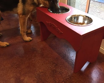 Elevated Dog Feeder, Dog Feeding Stand, Raised Dog Feeder, Dog Bowls, Dog Bowl Holder, Vintage Accent, Old Red Paint,  Custom