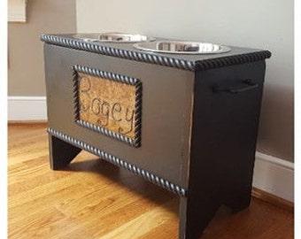 Dog Food Storage Stand Raised Dog Bowl Holder Elevated Pet Feeder Personalized and Custom Sizes