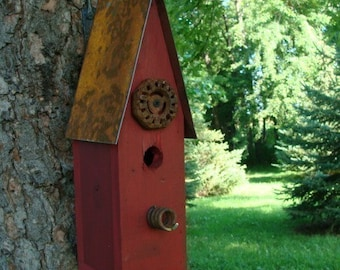 Rustic Birdhouse, Recycled Bird House, Farmhouse Birdhouses, Handmade Birdhouses, Industrial Chic Birdhouses, Old Red, Mothers Day Gift