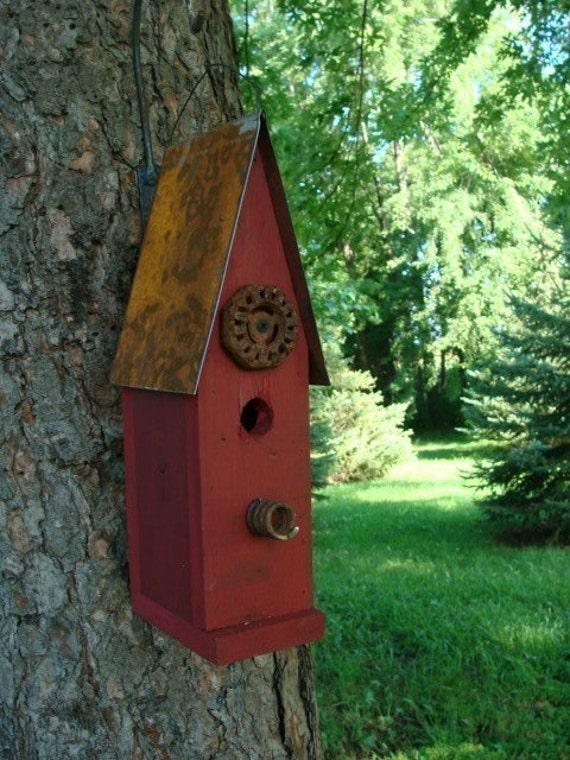 Attirant Old Red Rustic Birdhouse Decorative Wood Bird House Garden Or | Etsy