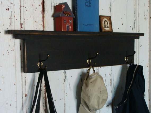 Black Coat Hook Shelf Entryway Storage Shelf With Hooks Custom | Etsy