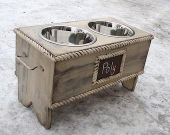 Elevated Dog Feeder, Personalized, Raised Dog Feeder, Feeding Stand, Pet Furniture, Dog Bowl Stand, Antique White, Custom
