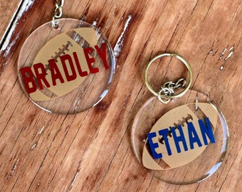 Personalized Football Name Keychains, Custom Round Football Key Chains, Key Rings, Sport Bag ID, Personalized Gift, ball tag, gift for kids