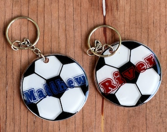 Personalized Soccer Name Keychains, Round Soccer Key Chains, Custom Key Ring, Sport Bag ID, Personalized Gift, ball tag, unique kids gift