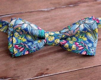 Men's Bow Tie, Liberty of London High Summer Flower Show, Adlington Hall, Cotton Bow Tie, flowers on blue, pretied bow tie, wedding tie