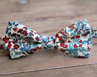 Men's Bow Tie, Liberty of London Winter Flower Show, Wisley Flowers, Cotton Bow Tie, red blue orange on cream, pretied bow tie, wedding tie