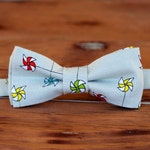 Boys pinwheel bow tie - multi pinwheels on gray cotton bowtie, bow tie for infant baby toddler child preteen kid - first birthday bow tie