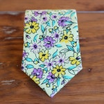Boys Floral yellow necktie, cotton purple flowers tie, necktie for infant baby toddler child preteen, ring bearer wedding necktie, rustic