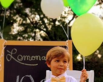 Boys bow tie, yellow dot cotton bowtie for boys - pre-tied - infant baby child toddler preteen little boy - boys yellow polka dot tie