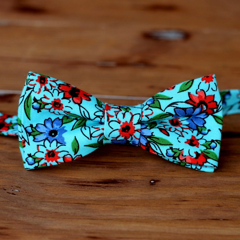 Boys Blue Floral Bow Tie boy's cotton bow tie spring image 0
