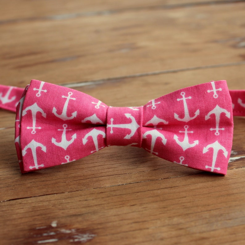 Men's Pink and White Anchor Bow Tie  cotton nautical image 0