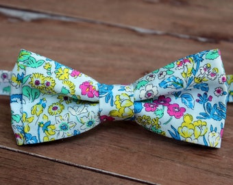 Men's Bow Tie, Liberty of London High Summer Flower Show, Wisley, Cotton Bow Tie, pink yellow floral on blue, pre-tied wedding bowtie