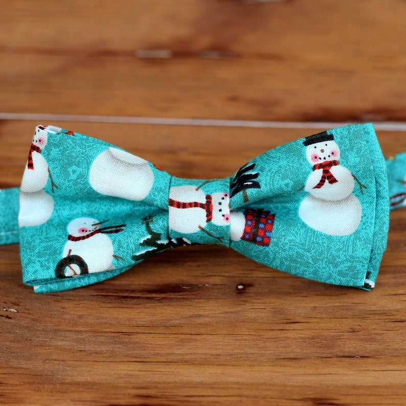 Mens Christmas Bow Tie  mens Winter Snowmen on Blue-Green image 0