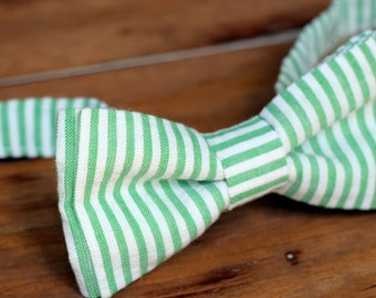 Mens Seersucker Bow Tie, mens summer bow tie, wedding bow tie, groomsmens bow ties, green blue black yellow red, fathers day gift, photo