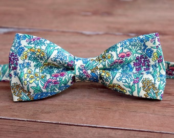Men's Bow Tie, Liberty of London High Summer Flower Show, Yorkshire, Cotton Bow Tie, pink yellow blue flowers cream, pre-tied wedding bowtie