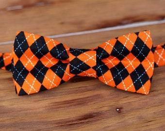 Boys Bow Tie - Orange and Black cotton diamond argyle print bowtie, baby, toddler, child bow tie | Halloween bow tie | adjustable bow tie