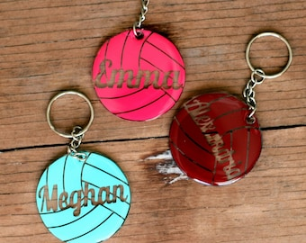 Personalized Volleyball Name Keychains, Round Sport Key Chains, personalized gift, personalized key rings, volleyball duffel tags, tote tags