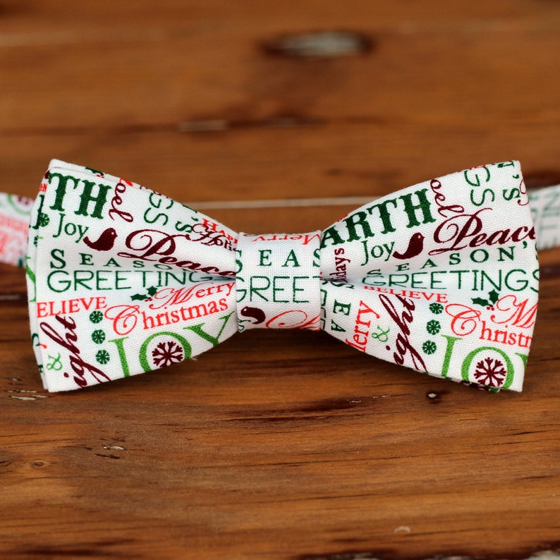 Boys Christmas Bow Tie  red green holiday words on white image 0