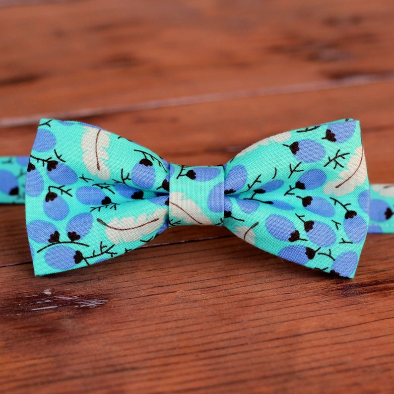 Boys casual blue-green cotton bow tie gray leaf bowtie image 0