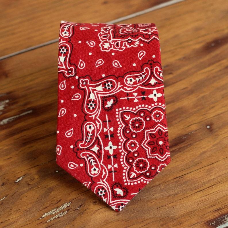 Boys red bandanna necktie  red white bandana print cotton image 0