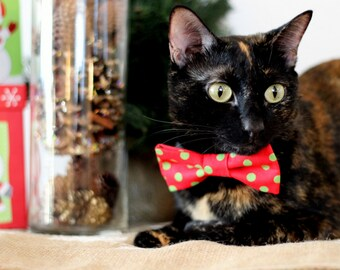 Christmas Cat Bow Tie Collar - green dots red cotton cat bowtie, kitten bow tie, dog bow tie, adjustable collar - photo prop for pets - gift