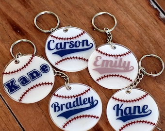 Personalized Name Baseball Keychains, Round Baseball Key Chains, Softball Key Rings, TBall Bag ID, Personalized Gift, ball tag, kids gift