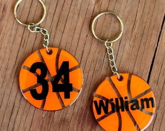 Personalized Basketball Kids Name Keychains, Custom Round Ball Key Chains, Key Rings, Sport Bag ID, Personalized Gift, ball tag, boys gift