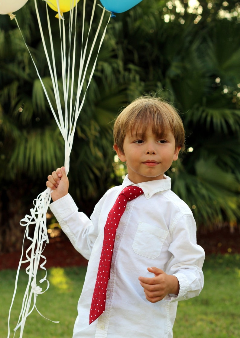 Boys red necktie red white polka dot cotton tie for boy image 0