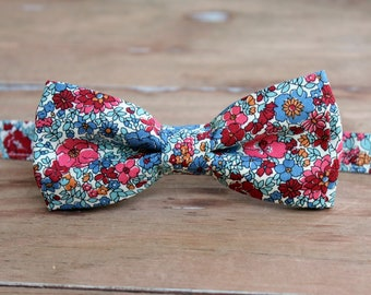 Men's Bow Tie, Liberty of London Winter Flower Show, Arley Gardens, Cotton Bow Tie, pink/red/blue flowers on cream, pre-tied wedding bowtie