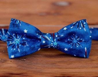 Mens Fireworks Bow Tie - American patriotic bowtie for men - red white blue cotton bow tie - men's novelty bow ties - pre tied adjustable