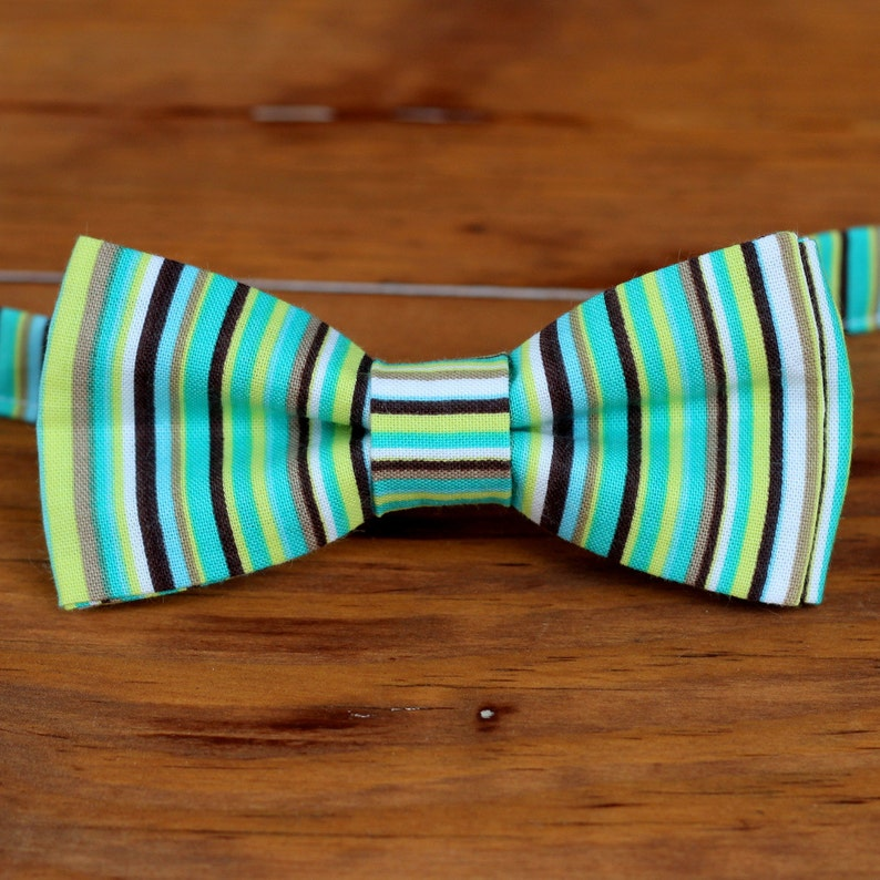 Boys Bow Tie  Colorful green brown and blue pin striped image 0