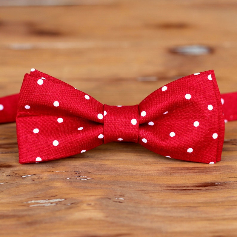 Men's red cotton bow tie red white dot bowtie for men and image 0