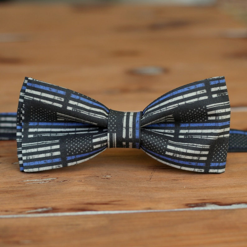 Mens police support bow tie  black blue American flag cotton image 0