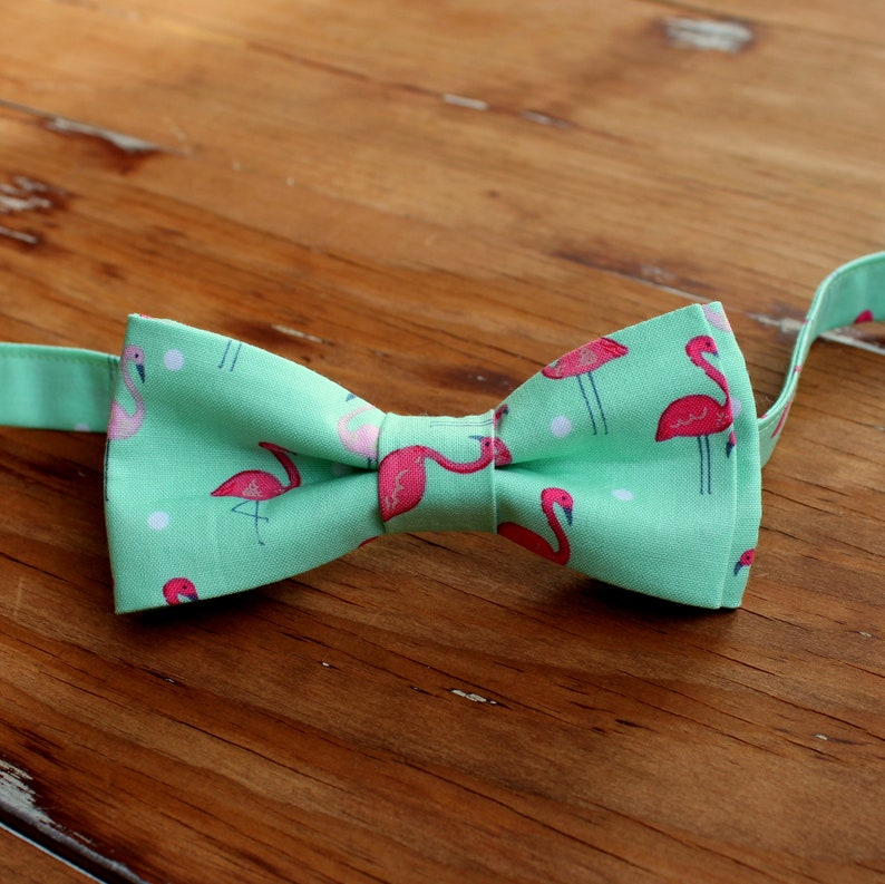 Boys Pink and Green Flamingo Cotton Bow Tie bowtie for image 0