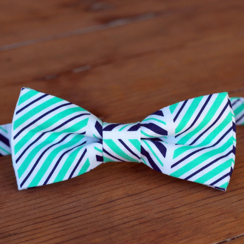 Boys Striped Bow Tie  boys blue bow tie  boys green bow tie image 0