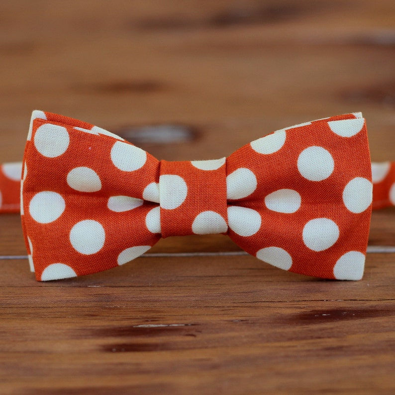 8232c2ff287b Boys Orange Bow Tie polka dot orange bow tie toddler | Etsy