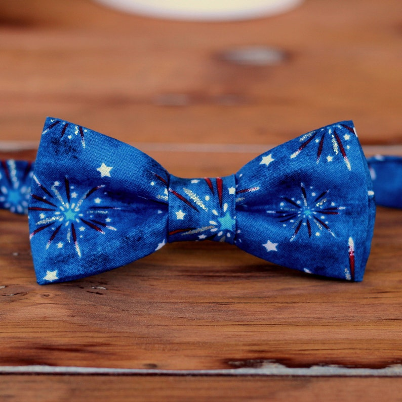 Boys Bow Tie  Red White Blue 4th Fourth of July Fireworks image 0