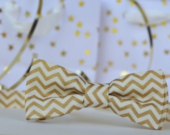 Mens gold chevron bow tie - men gold cream zig zag bow tie, evening wedding bow tie, new years eve bow tie, christmas bow tie, formal, gift