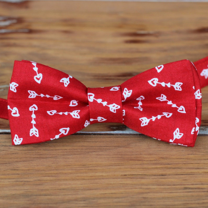 Mens red heart bow tie  mens red white arrow Valentine's image 0