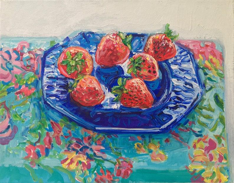 Six Strawberries original mixed media acrylic still life image 0