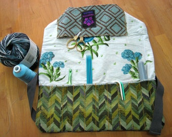 Needle Case, Pocket, 11 Slots that hold Crochet/Knit/DPN/Color Pencils/Drumstick/Tippers, Recycled Materials