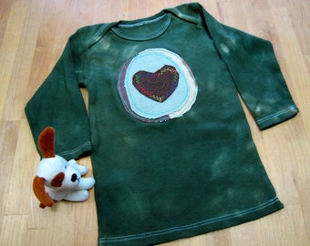 Veggie-Lap T-Shirt, Long-Sleeve,100% Cotton,Hand-Dyed Earth Friendly,Forrest Green,Heart Avocado,18-24 Months,Spring/Summer, Valentine Day