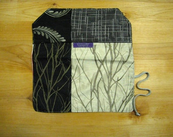 Needle case, 14 Needles Slots, 3 Pockets,Recycled Materials,Branches Embroidery, Crochet/Knit/DPN/Color Pencils, Able to do wholesale:-)