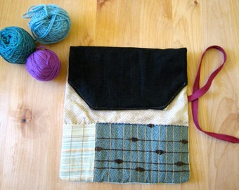 Needle Case, 2 Pockets, Circular, 14 DPN/Knit/Crochet/Color Pencils Needles Recycle Materials, Mother's Day Gift:-)