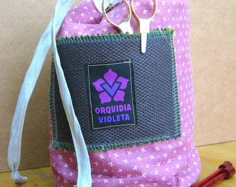 Reversible Project Bag for Knitting, Crocheting, Christmas Gift, Sewing/Knitting/Crotheing On the GO!